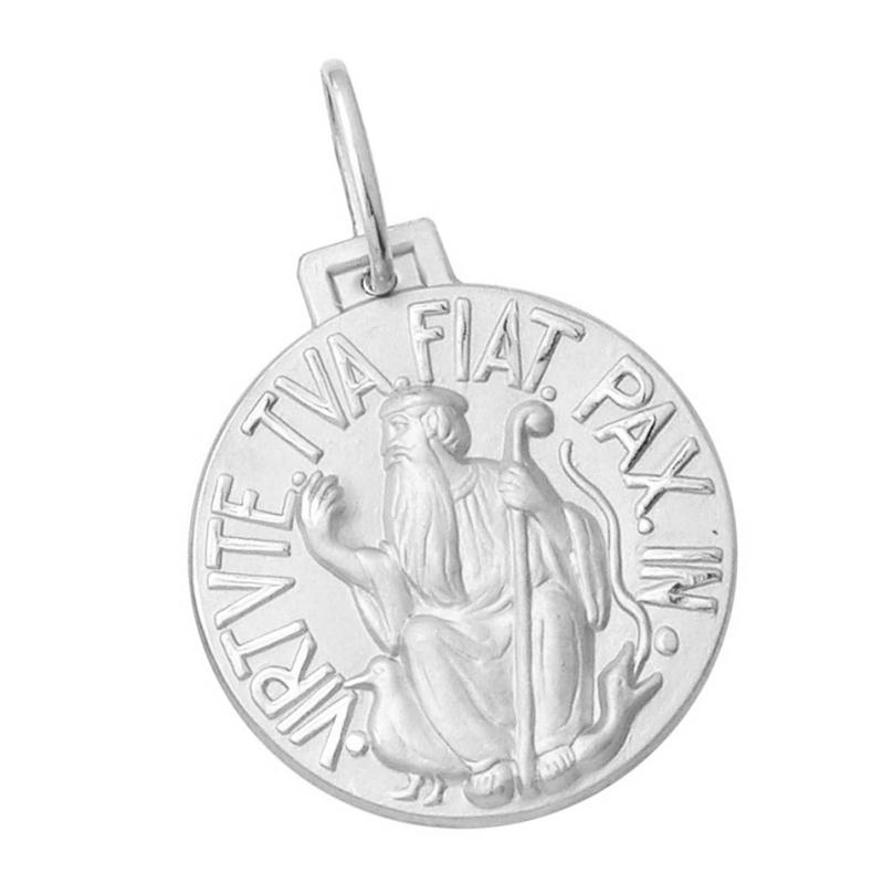 66314c156d601 Início · Pingentes e Medalhas Religiosas  MEDALHA SÃO BENTO TRADICIONAL EM  OURO BRANCO 18K