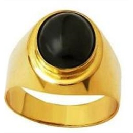 ANEL ONIX NEGRO NATURAL OVAL EM OURO 18K DAF35 ON 630