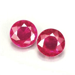 PAR DE RUBI NATURAL REDONDO AAA COM 6,55MM 2,63CT
